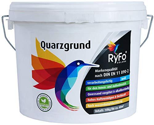 RyFo Colors Quarzgrund 10kg (Größe wählbar) - Profi Putzgrund weiß als Putzgrundierung für einen extrem griffigen Untergrund, innen und außen, gebrauchsfertig, zertifiziert