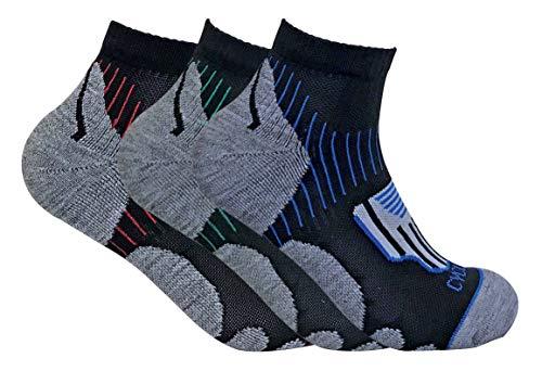 sock snob 3 Paar atmungsaktive gepolsterte Herren-Anti-Blister-Sport-Radsport-Socken mit kurzem Knöchel für Achillessehnenschutz
