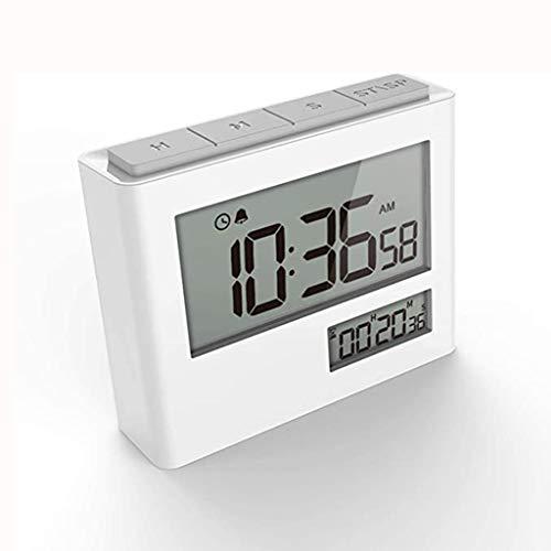 Temporizador de Cocina Temporizador y Reloj 2 en 1Count up/Down Pantalla LCD Electrónica con Alarma y Respaldo magnético (Color : White)