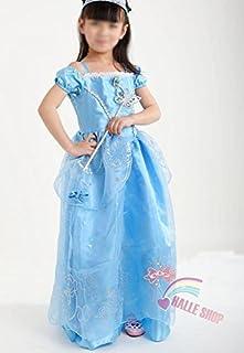 プリンセスなりきり 子供 ドレス キッズ 子ども お姫様 ワンピース  お姫様ドレス 女の子 なりきり キッズドレス シンデレラ/ラプンツェル/ベル/オーロラ姫 (140サイズ, ブルー風)