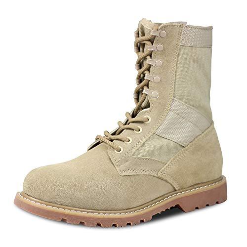 Qunlon Zapatos de Hombre Botas/Botas de Combate/Botas Tácticas Ultra-Ligero Antideslizante Tela de Cuero Verdadero Transpirable 681 Beige 45 EU