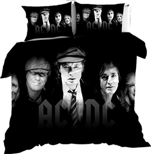 AmenSixye Rock music band AC/DC 3D Cartoon Duvet Cover Set Twin Full Queen King Size Bedding Set Comforter Cover Bed Linens Home Textile,140x210cm(2pcs)