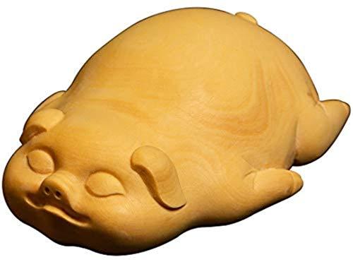 HYBUKDP Estatuas Estatuillas Zen Adornos Boxwood Sculpture Estatua Coche Colgante Talla Crafts Fu Pig Decoración Decoración Adornos Zen Adornos Escultura de la Mascota (Color : Default)