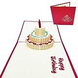 Tarjeta 3D de felicitación de cumpleaños - Postal 3D con Tarta de Cumpleaños - Felicidades