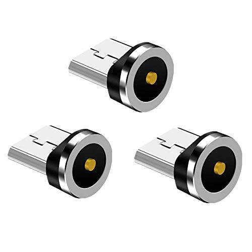 Vialex Paquete de 3 adaptadores de Puntas magnéticas Micro USB/Conector/Cabezal/Enchufe, Compatible con Samsung Galaxy Note S7 S6, Kindle y más Dispositivos Android, sin Cable