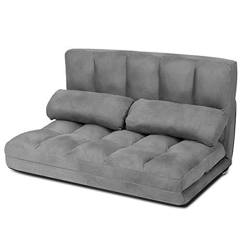 COSTWAY Schlafsofa mit 2 Kissen, Sofabett mit 6 stufig Verstellbarer Rücklehne, Lazy Sofa klappbar, Bodensofa für Schlafzimmer, Wohnzimmer und Balkon (Grau)