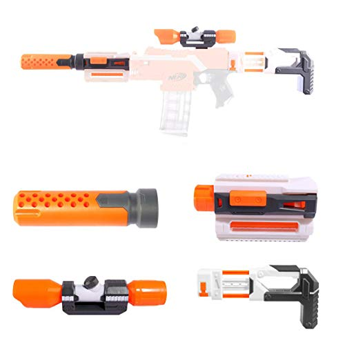 Upgrade Zubehör Set für Nerf, Zielfernrohr+Entstörung+Guide Rail Adapter+Gewehrkolben für Stryfe/Modulus IonFire/Motorized/Modulus ECS-10 Series Blaster (Orange)
