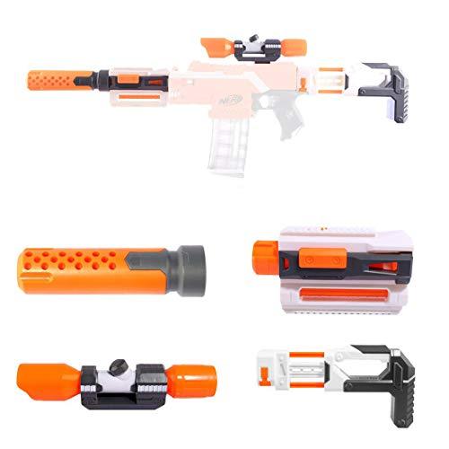 Kit di Accessori per Nerf, Set di Modifica con cannocchiale Adattatore per Binario di Guida del pistone a Tubo Anteriore per Nerf Stryfe/Retaliator/Modulo/Motorizzato/Regolatore (Orange)