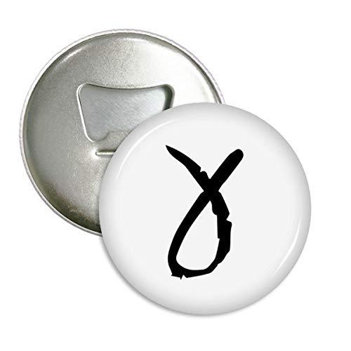 Griekse Alfabet Gamma Zwart Silhouette Ronde Flesopener Koelkast Magneet Badge Button 3 stks Gift