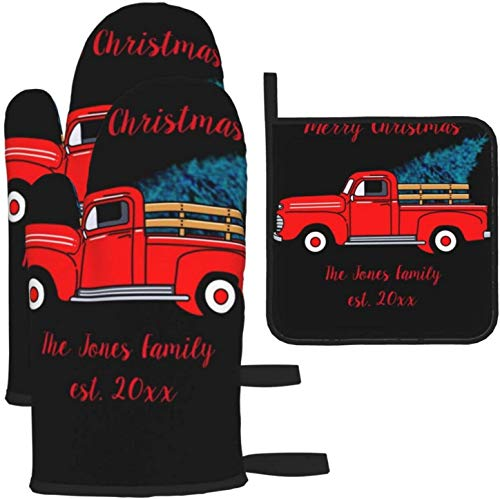Vintage Red Pick Up Truck Holiday FunKitchen Gloves Heat Resistant Oven Mitts and Pot Holders 3Pcs for BBQ Cooking Baking