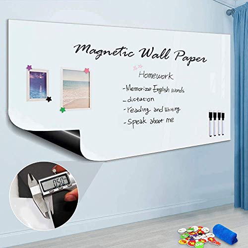 "Magnetic Whiteboard Sticker, 94"" x 48"" Dry Erase Whiteboard Contact Paper for Wall, Dry-Erase Board Wallpaper for School/Office/Home, Includes 4 Markers, Non-Adhesive Back"
