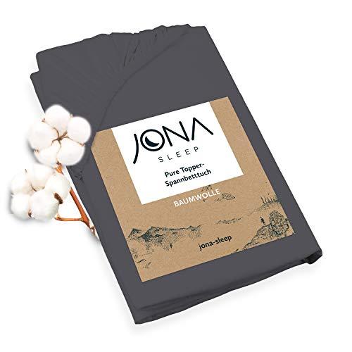 JONA SLEEP Topper-Bezug (200x200 cm) Dunkel-Grau, Topper Spannbettlaken Boxspringbett aus Baumwolle - Öko Tex - Topper Spannbetttuch für einfaches Beziehen (Schiefer, 200 x 200 cm)