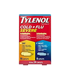 24-count combo pack of Tylenol Cold + Flu Severe Day/Night Caplets for multi-symptom cold and flu symptom relief. From the #1 doctor recommended pain relief brand, the combo pack includes 16 Daytime and 8 Nighttime caplets for relief any time of the ...