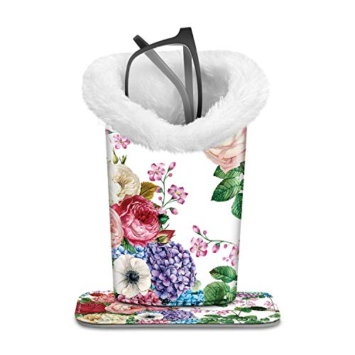 Fintie Plush Lined Eyeglasses Holder with Magnetic Base - PU LeatherGlasses Stand Case, Flower Festival