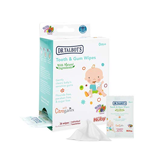 Nuby All Natural Baby Tooth and Gum Wipes with Citroganix, 36 Count, Pack of 1