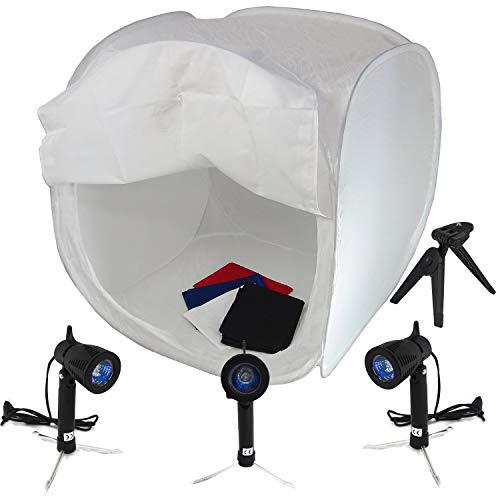 DynaSun PRO PB1 Opvouwbare Licht Cubelight Photo Studio Box Licht Kubus Tent met 4 achtergronden, 80cm + 3x LIGHT
