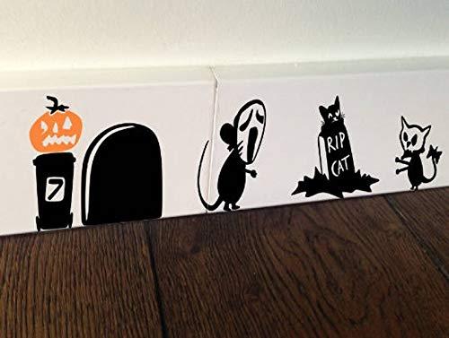 Halloween muis RIP masker pompoenen geest Graffiti Gift Muizen liefde hart Decor Grappige muur Art Stickers Baseboard kinderen