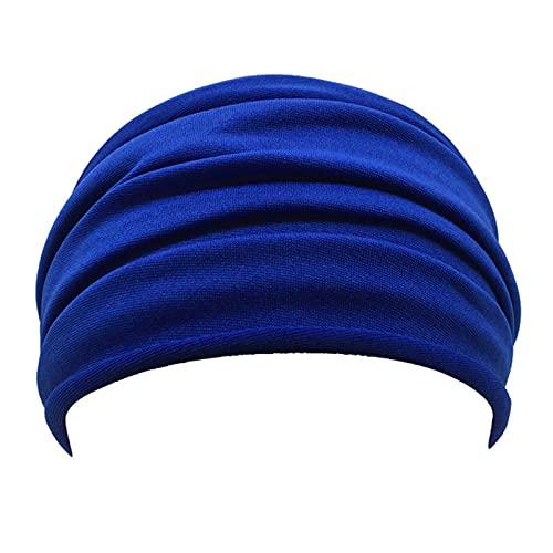 PPLAX Yoga Stirnband rutschfeste elastische Falten Yoga Stirnband Mode Weit Sport Stirnband Laufendes Zubehör Sommer elastisch Stirnband (Color : Dark Blue)