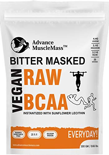 Advance MuscleMass Lab Tested Vegan Bitter Masked BCAA 2:1:1 Workout Energy Drink with 8.7 g BCAA, 4.4 g Leucine, 2.1 g ISO-Leucine, 2.2 g Valine, Instantized with Sunflower Lecithin, 300 g/0.66 lb