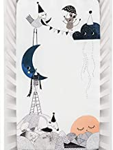 Rookie Humans 100% Cotton Sateen Fitted Crib Sheet: The Moon's Birthday. Modern Nursery, Use as a Photo Background for You...