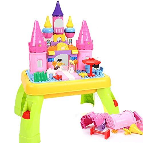 N&O Renovierungshaus Bauaktivitätstisch Multifunktionaler Bautisch Kinderspielzeugtisch Montagepuzzle Bautisch Rosa Multifunktionstisch (Color : Pink Size : 61x45x11cm)