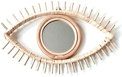 Senmubery Oogvorm Decoratieve Spiegel Rotan Innovatieve Kunst Decor Ronde Makeup Spiegel Dressing Badkamer Muur Opknoping Spiegel Ambachten