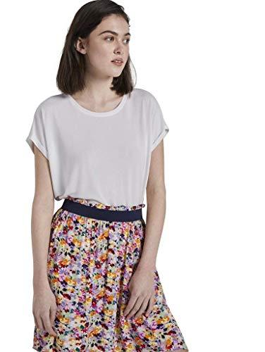 TOM TAILOR Denim Easy T-Shirt Camiseta, 10332/Blanco Roto, XL para Mujer