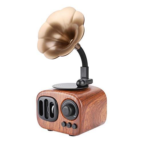 Hakeeta Retro Moderne platenspeler-vormige luidspreker, draagbare Bluetooth luidspreker met 3,5 mm audiokabel, bas-geluid, goede geluidskwaliteit