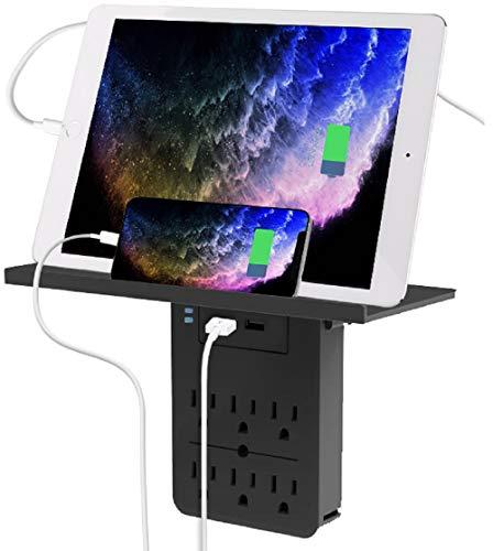 Aduro Surge Multiple Plug Outlet Splitter Wall Surge Protector With 6 Power Outlet Shelf & 2 Multi USB Port Multi Outlet Plug Black