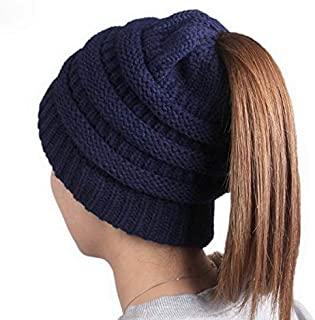 Jixin4you Women Ponytail Hole Chunky Hat Winter Slouchy Hat Cable Knit Beanies Skull Cap