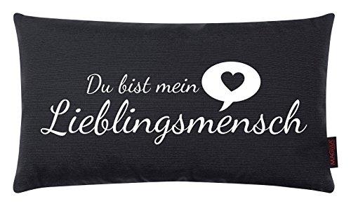 Kissen Lieblingsmensch schwarz 30x50cm Made in Germany