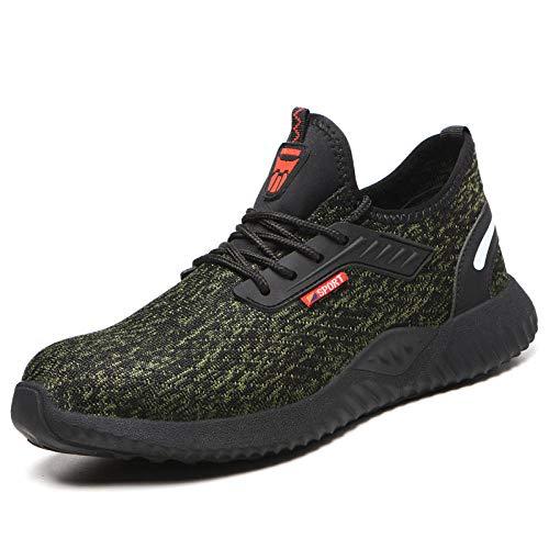 xiaozhu Botas Ligeras Seguridad en el Trabajo Zapatos Seguridad para Hombres Zapatillas Trabajo Antipinchazos Antigolpes Zapatos Trabajo Zapatos con Punta Acero para Hombres Calzado-616 Verde_37