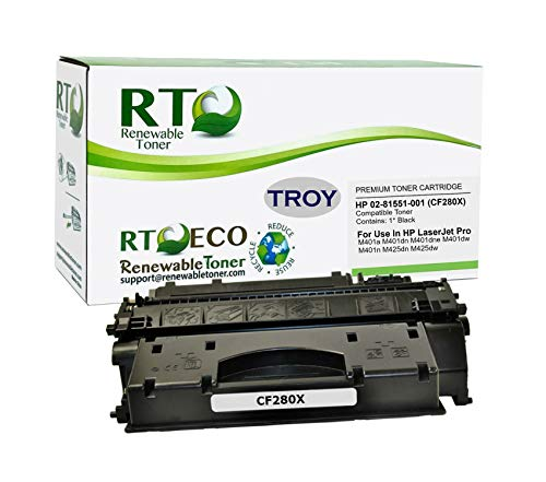 Renewable Toner Compatible MICR Toner Cartridge High Yield Replacement for Troy 02-81551-001 HP CF280X 80X Laserjet Pro 400 M401 M425 MFP