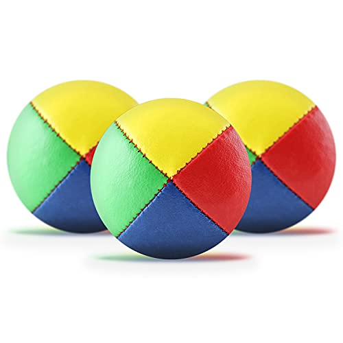 3er Set Jonglierbälle mit Jonglage-Anleitung zum Download - 62mm Jonglierball - Füllung aus nachhaltiger Vogelhirse - wasserabweisendes Kunstleder - Jonglier-Set zur Jonglage für Kinder & Anfänger