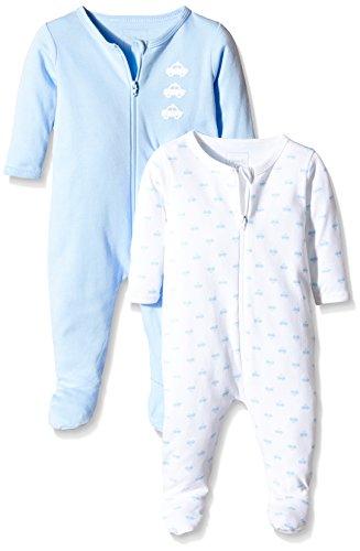 NAME IT Baby-Jungen Schlafstrampler NITNIGHTSUIT ZIP W/F NB B NOOS, 2er Pack, Gr. 74, Mehrfarbig (Cashmere Blue)
