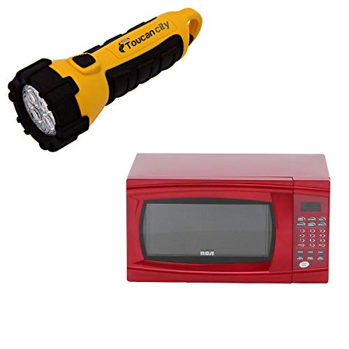 Toucan City LED Flashlight and RCA 1.1 cu. ft. Countertop Microwave in Red RMW1112-RED