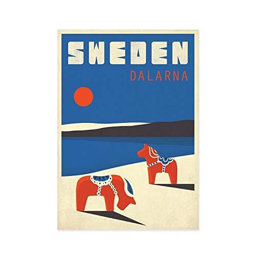Terilizi Zweden Dalarna Retro Artwork Print Dala paard dierlandschap Nordic stijl muur wooncultuur Scandinavische reis poster cadeau-30X40cm geen lijst