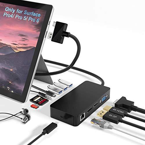 Surface Pro Dock für Surface Pro 4 / Pro 5 / Pro 6 USB-Hub-Dockingstation mit Gigabit-Ethernet, 4K-HDMI-VGA-DP-Display-Anschluss, 3xUSB 3.0, Audioausgang, USB C-Anschluss, SD/TF-Kartenleser