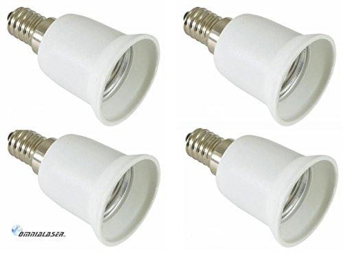 4piezas adaptadores/conversor de E14a E27(de enchufe de casquillo pequeño a grande). Ideal para bombillas LED. Certificado según Norma CE.