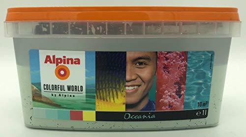 Alpina Colorful World fertig abgetönte Dispersions-Wandfarbe, Innenfarbe, matt (1 Liter, Bright Oceania)