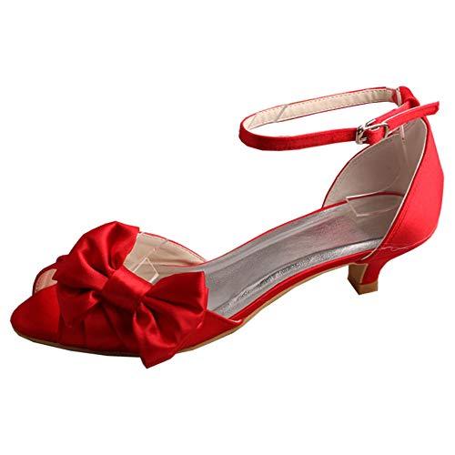 Zapatos De Novia Tacón Bajo 4,5 Cm para Mujer Correa De Tobillo...