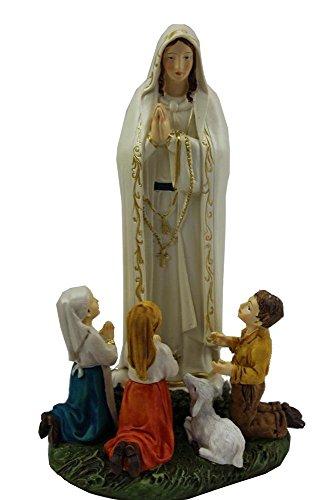 DRW Figura de la Virgen de Fátima de 20 cm con los niños con Caja de Regalo, Blanca, Alto