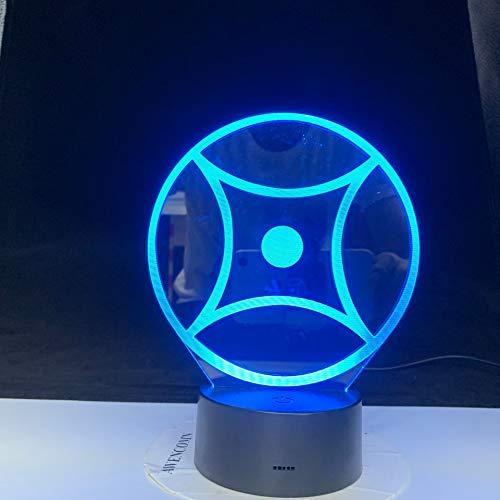 jiushixw 3D acryl nachtlampje met afstandsbediening kleur tafellampen abstract speciaal logo party animator bureaulamp retro