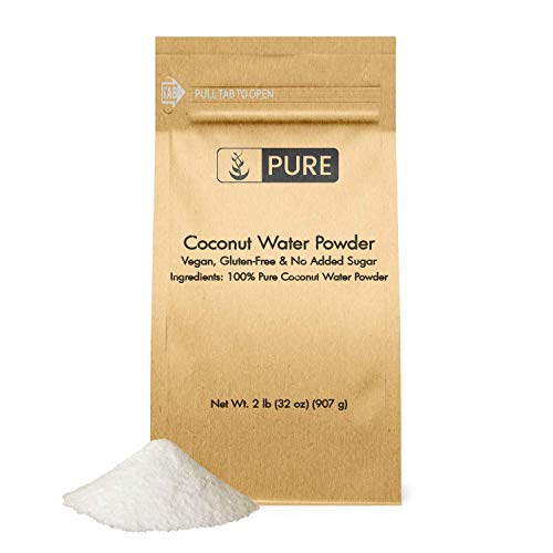 Natural Coconut Water Powder (2 lb) Slightly Sweet & Nutty Flavor, Potassium & Electrolyte-Rich, Non-GMO & Gluten-Free, Eco-Friendly Packaging (6400 mg Serving)