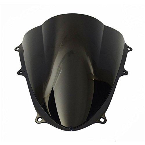 waase Motorcycle Double Bubble Windscreen Windshield Shield Screen For Suzuki GSXR1000 GSXR 1000 K9 2009 2010 2011 2012 2013 2014 2015 2016 (Dark Smoke)