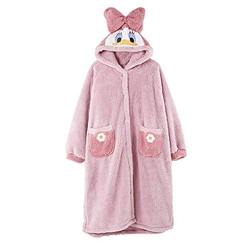 Albornoz de Invierno Pijamas for las mujeres arco con capucha ropa de noche rosada coralina del paño de las mujeres casa la ropa de invierno salón de la historieta Pato Pijama Mujeres Grueso