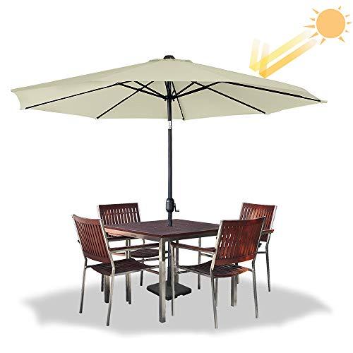 HENGMEI 300cm ALU Sonnenschirm Gartenschirm Terrassenschirm Marktschirm Ampelschirm Strandschirm Kurbelschirm mit UV Schutz 40+, mit Solar LED für Balkon, Garten, Terrasse (300cm, Beige)