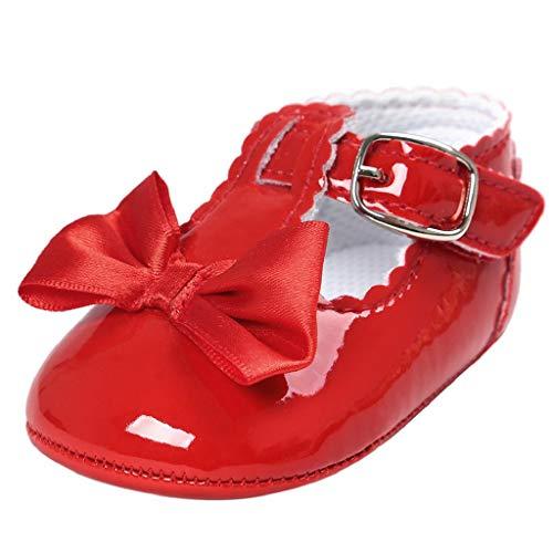 Zapatos Bebé Niña 2019 SHOBDW Zapatos De Princesa Dulce Pisos Zapatos Cuna Suela Suave Antideslizante Zapatillas Zapatos Lindos del Bowknot Primeros Pasos Zapatos Bebé Recién Nacida(Rojo,6~12)