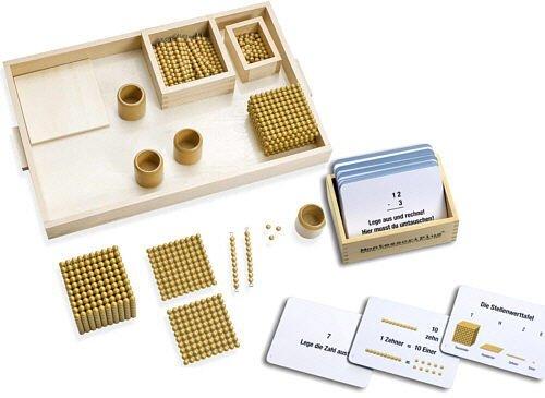 Goldenes Perlenmaterial, umfassendes Montessori Material m. 100 Arbeitskarten zum Rechnen Lernen inkl. einfacher Selbstkontrolle