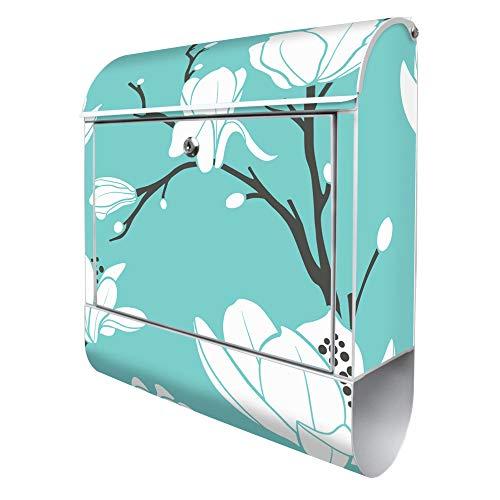Banjado Design Briefkasten mit Motiv Magnolien | Stahl weiß pulverbeschichtet mit Zeitungsrolle | Größe 39x47x14cm, 2 Schlüssel, A4 Einwurf, inkl. Montagematerial